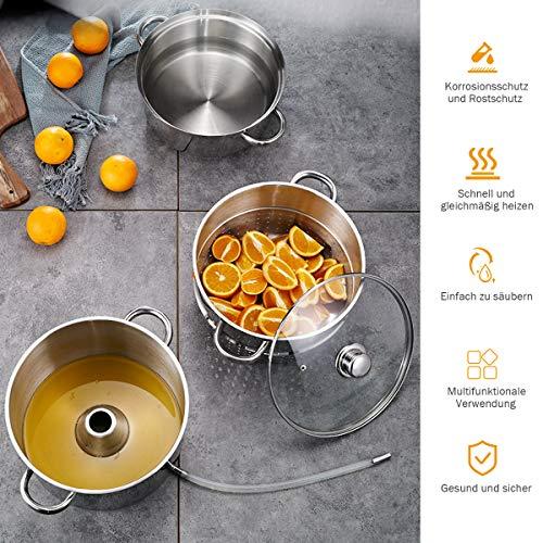 Foto von COSTWAY Dampfentsafter aus Edelstahl Ø 26cm, Fruchtentsafter mit Glasdeckel, Kochgeschirr induktionsgeeignet, zur Saft- und Geleeherstellung, silber