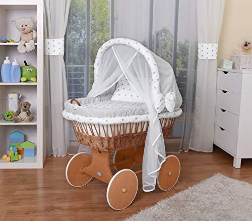 WALDIN Baby Stubenwagen-Set mit Ausstattung,XXL,Bollerwagen,komplett,44 Modelle wählbar,Gestell/Räder lackiert,Stoffe grau/Sterne-grau