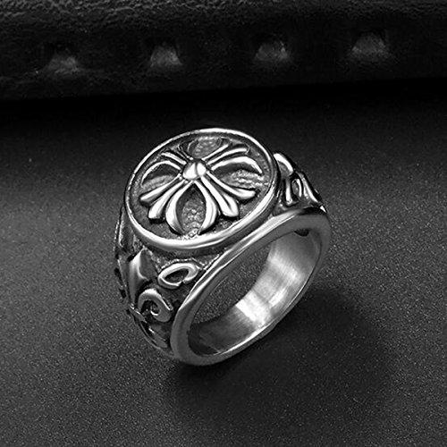 『ZAKAKA 指輪 メンズ リング ファッション アクセサリー (銀色, 24)』の5枚目の画像
