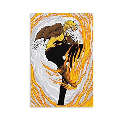 baozou Sombrero de paja Piratas Onepieces Anime Sanji Chef Poster Pintura decorativa Lienzo Arte de la pared Carteles Sala de estar Pintura Dormitorio 60 × 90 cm