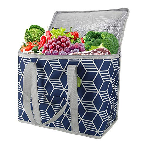 Large Reusable Grocery Tote Bag Insulated Cooler Shopping Bag for Cold and Hot Food Stands Upright Food Delivery Bag Thermal Collapsible Bag with Zipper