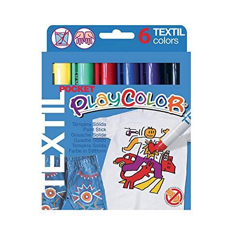 PLAYCOLOR - TEXTIL POCKET - Stylo de peinture gouache solide - 6 couleurs assorties