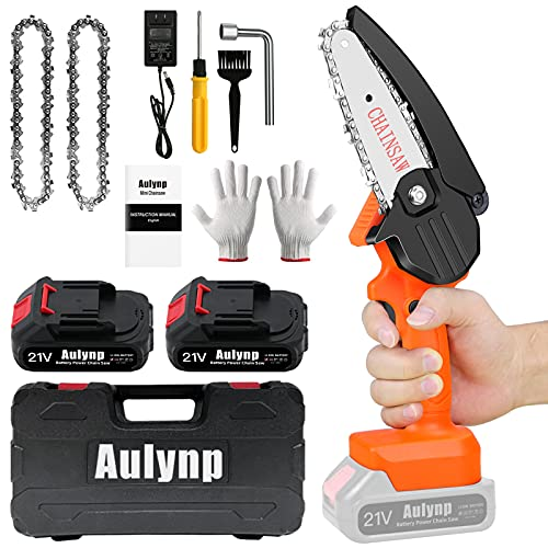 Aulynp Mini Chainsaw Kit with Toolbox, 2 Batteries 2 Chains, 4-Inch Cordless Power Chain Saws, 21V Portable Household Small Handheld Electric Saw Set for Wood Cutting, Tree Pruning and Gardening
