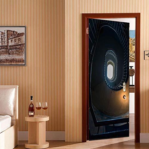 Fantxzcy Pegatina 3D Para Puerta Arte De La Puerta Escaleras De Caracol Negro Luces Naranjas 77X200Cm Decoración Del Hogar Papel Tapiz Pvc Para Dormitorio Adhesivos Para Pared Póster Puerta Adhesivo
