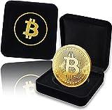 Bitcoin Moneda Fisica Chapada Oro 24K En Cofre De Terciopelo con Logo Dorado