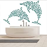 Dolphin Wall Sticker Set Marine Under The Sea Animal Tatuajes De Pared Niños Baño Decoración Para El Hogar Cute Dolphin Deco Art Waterproof 90 * 56Cm