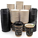 [100 Sets - 12 oz. With Lids] PREMIUM Paper Hot Coffee Cups with Lids - Resealable Lids - Leak Free To Go Disposable Hot Beverage