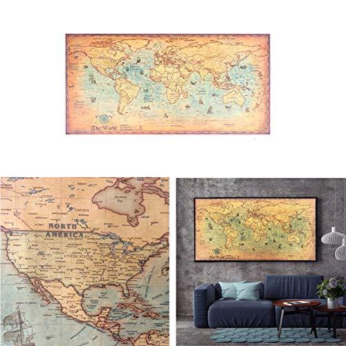 Mappa del Mondo del Mare Oceano Nautico Retro Vecchia Pittura di Carta d'Arte Sticker Decorativo per la casa Poster del Soggiorno Cafe Antique Poster Dimensione 100X51cm