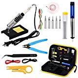 Adjustable Temperature Welding Tool Soldering Iron Kit 60W for Electronics with Carry Bag(16pcs)