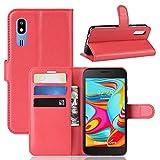 Funda para Samsung Galaxy A2 Core Case Flip Cover Cartera con Ranura para Tarjetas Estuche de Cuero PU + Interior de Silicona TPU Case con Soporte Carassa para Samsung Galaxy A2 Core Smartphone,Rojo