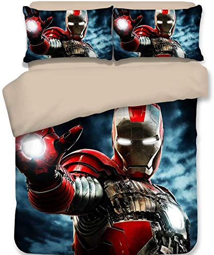 Marvel Iron Man - Juego de ropa de cama (3 piezas), diseño del Capitán América, suave y agradable a la piel, sin irritación, para niñas y niños (Iron Man-2, 135 x 200 cm + 80 x 80 cm x 2)