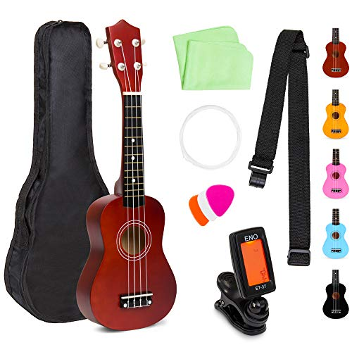 Best Choice Products 21in Acoustic Basswood Ukulele Starter Kit w/Nylon Carrying Gig Bag, Strap, Picks, Cloth, Clip-On Tuner, Extra String - Brown