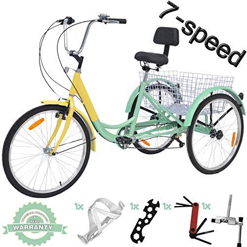 VANELL 7/1 Speed Tricycle Adult 20/24/26 in Trike Cruise Bike 3 Wheeled Bicycle W/Large Size Basket for Women Men Shopping Exercise Recreation (Cyan-Yellow, 24 inch/ 7 Speed)