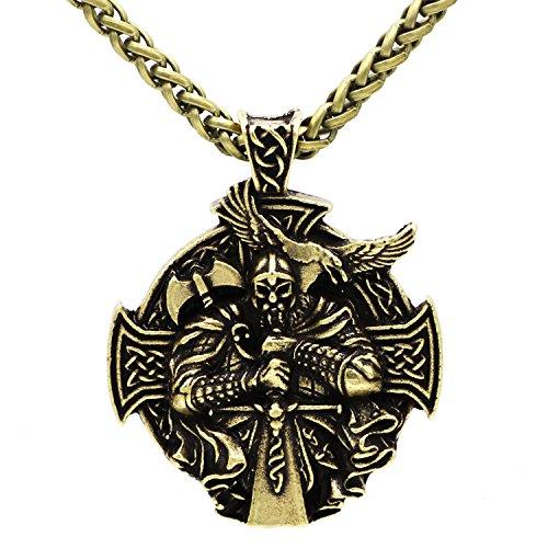 Detaillierte 3D Viking Krieger Schwert und Axt - Schutz Keltisches Kreuz Steampunk Mjölnir skandinavischen Raben Runen heidnischen Fenrir Nordic Anhänger Halskette - Antik Silber Bronze