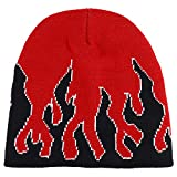 Armycrew Large Fire Flame Pattern Winter Short Knitted Beanie - Red Black White