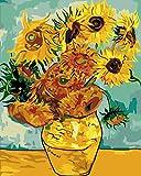 Toudorp Pintar por números Kit de pintura acrílica para bricolaje de flores - 40 cm x 50 cm Girasol de Van Gogh Patrón Pintura por números con 3 pinceles y colores brillantes sin marco