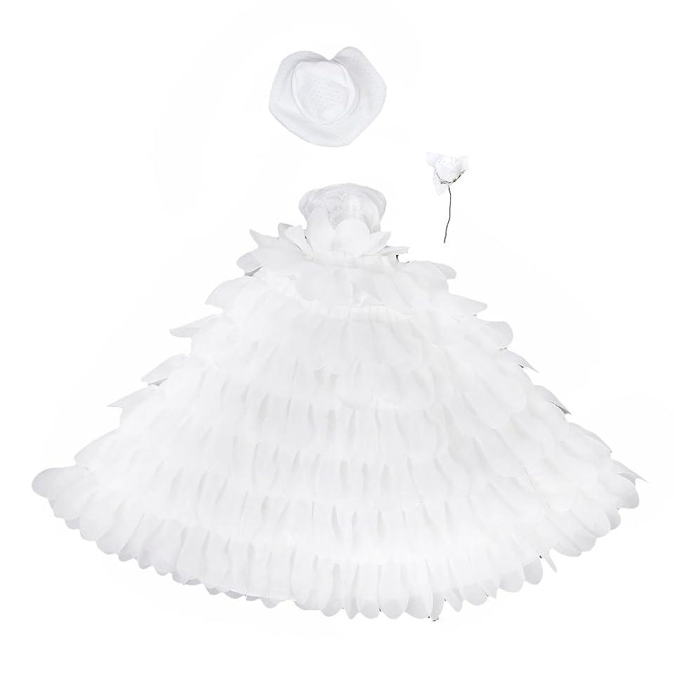 利得意気込み役立つ【ノーブランド品】ドール用 人形用 ドレス レース 帽子と花付 全3色 アクセサリー (ホワイト)