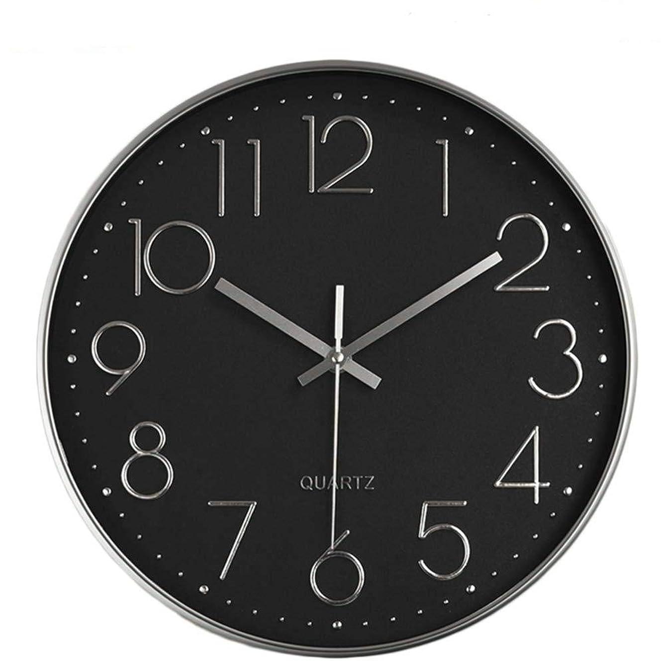 バドミントン旋律的放散する?掛け時計 壁掛け時計 おしゃれ 置き時計 北欧 連続秒針 静音 インテリア 掛時計 リッピング 掛時計 大数字 見やすい 30cm (ブラック)