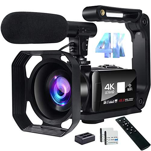 """Videocamara Digital 4K Videocámara 48MP Image Camaras Digitales con WiFi Camara de Video con Micrófono, Zoom Digital 18X, Pantalla Táctil de 3""""y Control Remoto"""