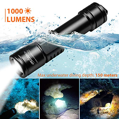 ORCATORCH D520 Scuba Dive Light 1000 Lumens Rechargeable Night Diving Torch LED Diving Light Underwater 150m Scuba Lights with 2 x 18650 Battery and Charger
