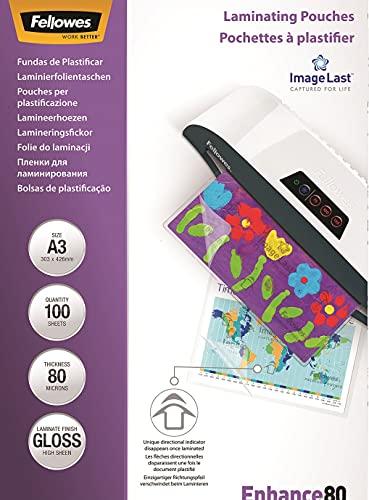 Fellowes 5306207 Pouches Lucide Enhance80, Formato A3, 80 Micron, Confezione da 100 Pezzi, 125 my