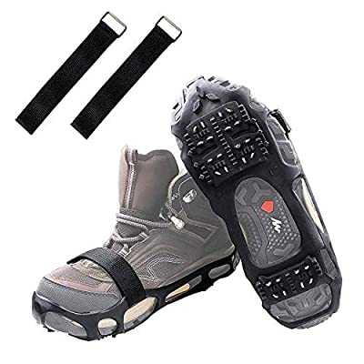 Shaddock Fishing Ice Cleats Ice Crampons Snow Grippers, 24 Spikes Traction Cleats for Boots Shoes Men Women Kids Anti Slip Spike Shoes Stretch Footwear for Hiking Walking Mountaineering