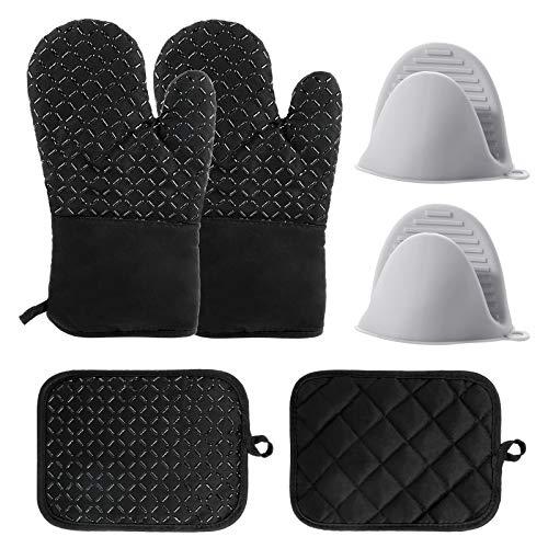ProChosen 2 Schwarze Anti-Slip-Hitze Resistant Baumwolle Atembare Oven Handschuhe, 2 Pot Holder und 2 Graue Silikon Mini Oven Handschuhe zum Kochen, Backen, Barbecue, Grillen, Mikrowelle