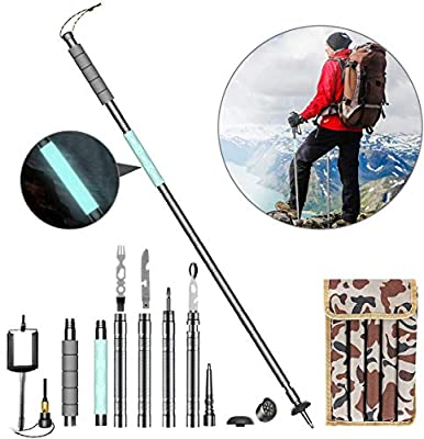 Hicocool 49.2inch Collapsible Multifunction Trekking Poles Walking Hiking Poles Adjustable Mountain Camping Supplies Outdoor Extension Multitool Portable Fluorescent Grip(11pcs/Set)