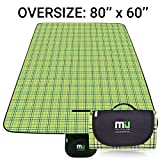 MIU COLOR Large Waterproof Outdoor Picnic Blanket, Sandproof and Waterproof Picnic Blanket Tote for Camping Hiking Grass Travelling (80'' x 60'' Green Plaid)