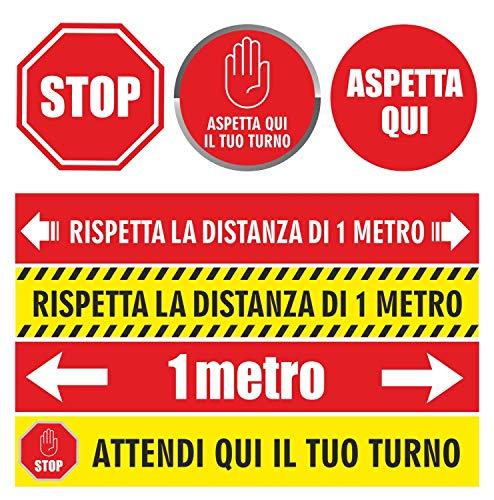 Adesivi calpestabili distanza di sicurezza 1 metro attendi il tuo turno kit completo segnaletica adesivo per terra cf 7 pezzi cartelli stikers emergenza