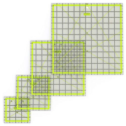 """ARTEZA Acrylic Quilters Ruler & Non Slip Rings - Double-Colored Grid Lines (4.5""""X4.5"""