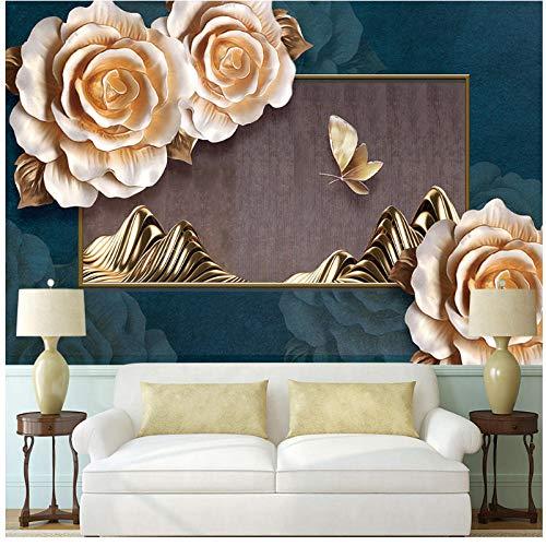 Lvabc Benutzerdefinierte 3D-Hintergrundbild Edle Klassische Pfingstrose Geprägte Schmetterlingshintergrundwand - Hochwertiges Wasserdichtes Material280X200Cm