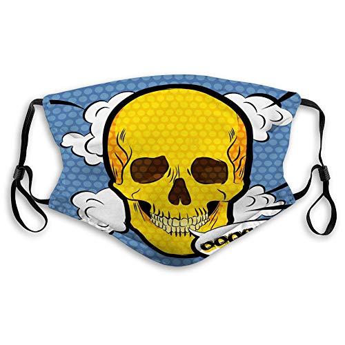 Na Einstellbare Maske Waschbar Wiederverwendbare Mundgesichtsmaske Menschliche Schädelikone Pop-Art-Comic-Stil Cha