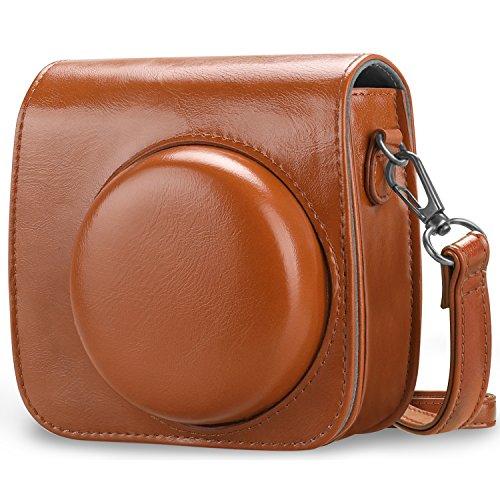 Fintie Beschermhoes voor Fujifilm Instax Mini 9/Mini 8/Mini 8+ Instant Camera - Premium Vegan Leather Bag Cover met Verwijderbare Band voor Fujifilm Instax Mini 8 8+/Mini 9, Lichtbruin