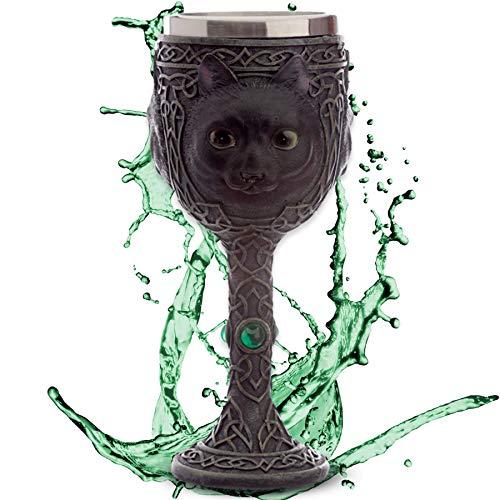 Cáliz ''Siete vidas'' - Gato negro sobre adornos celtas - Copa de vino (160ml) - Altura 19 cm- Fantasía misticismo brujas