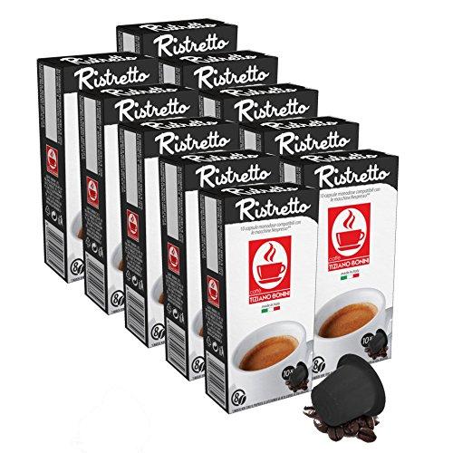 100 Kaffee Kapseln Nespresso kompatibel - Ristretto (10 x 10 Kapseln) von Bonini