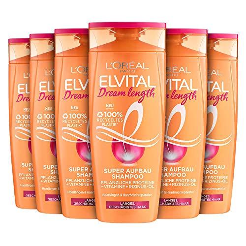 L'Oréal Paris Elvital Shampoo gegen Spliss, Für traumhaft langes Haar, Mit Rizinus-Öl, Dream Length Super Aufbau Haarshampoo, 6 x 300 ml