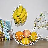 LXJ Haushalt Obstteller Einfacher und moderner kreativer Bananenhakenkorb-Fruchtplatten-Trockenfrüchtesnack-Topf-Gestellspeicherbehälter Silberne Obstschale (Color : White)
