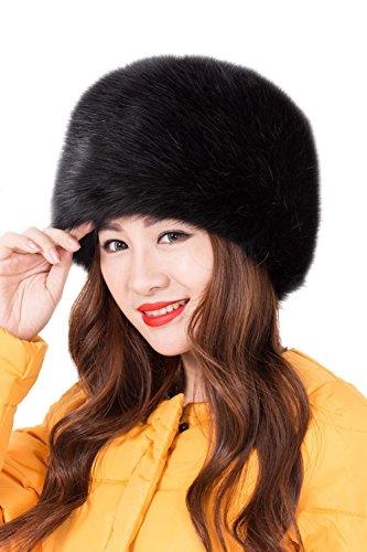 Modelshow Invierno Mujeres Moda Estilo de Rusia Gorra Redondo Piel Sintética Sombrero Gorro para Esquí (Negro)