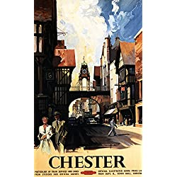 Chester, England - Street View with Couple and Tower Clock Rail - Vintage Travel Poster (9x12 Art Print, Wall Decor Travel Poster)