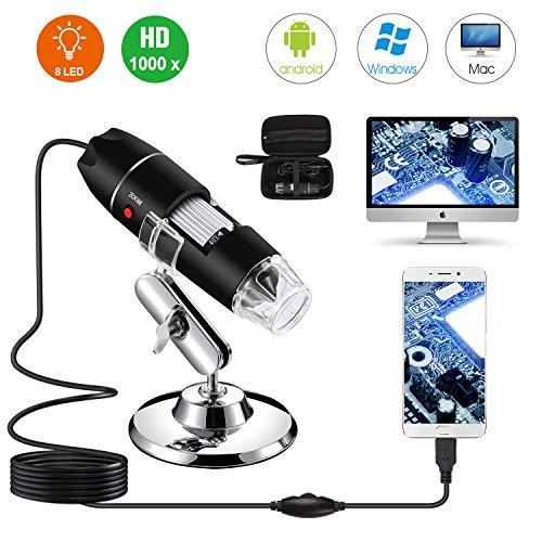Microscope numérique USB 40X à 1000X, caméra d'endoscope à grossissement Bysameyee 8 LED avec étui de Transport et Support en métal, Compatible avec Android Windows 7 8 10 Linux Mac