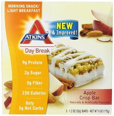 Atkins Day Break Apple Crisp Morning Snack Bar, 5 Count, 1.2 oz Bars
