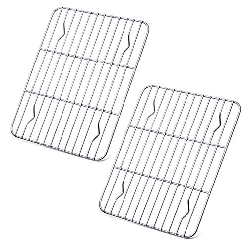 P&P CHEF Cooling Rack Pack of 2, Stainless Steel Small Cooking Rack for Cooling Baking Roasting Grilling Drying, Rectangle 9.7'' x 7.3'' x 0.6'', Fits Small Toaster Oven, Oven & Dishwasher Safe