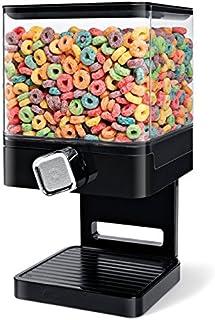 SHINE Dispensador de Cereales Doble/Individual La máquina/depósito de Alimentos Secos Contiene 19 onzas de Alimentos (Dispensador Individual Negro)