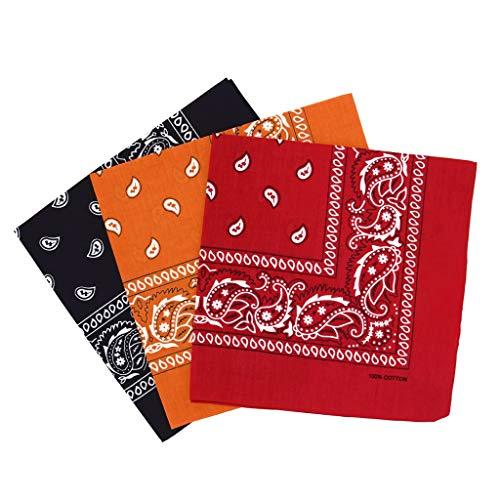 CRE87 Paisley Bandanas Verschiedene Farben 3 Pack - Dutzend Baumwolle Cowboy Bandana Schal(A 3,3pcs)