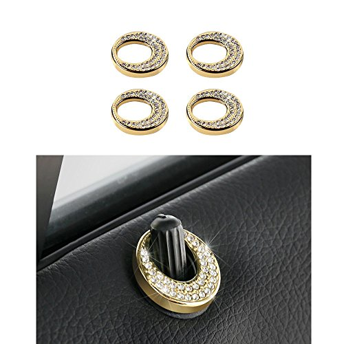 1797 Compatible Door Lock Pins Caps for Mercedes Benz Accessories Parts Bling W246 W212 C117 X156 CLA GLA B E Class GLC Covers Decals Stickers Interior Decorations AMG Women Men Crystal Gold 4 Pack