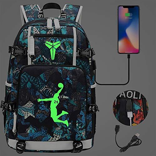NBA Basketball Star Fans Leuchtender Rucksack , mit USB-Ladeanschluss , Schwarze Mamba Kobe Bryant Schultasche Colourful-4