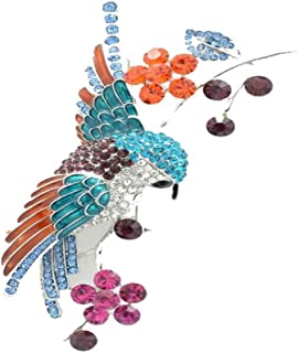 PANGRUI Personalized Rhinestone Crystal Cartoon Hummingbird Bangle Bracelet Adjustable for Bird Lover