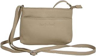 Jennifer Jones Kleine Abendtasche für Frauen aus Leder/Damen Crossover Schultertasche beige Umhängetasche Crossbody Bag 6224