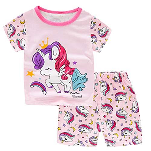Unicornio Verano de Las Muchachas Pijamas Infantil niñas Sistemas de la Ropa de los niños de Manga Corta Pijama de bebé 100% algodón Niños Pijamas